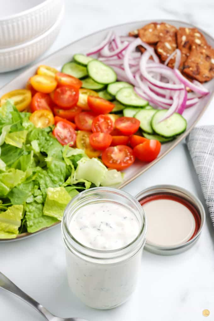 dressing and salad