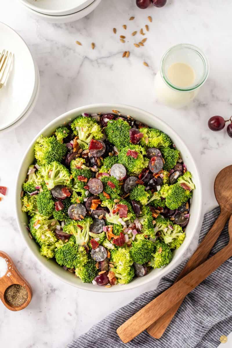 overhead pic of bowl of broccoli grape salad