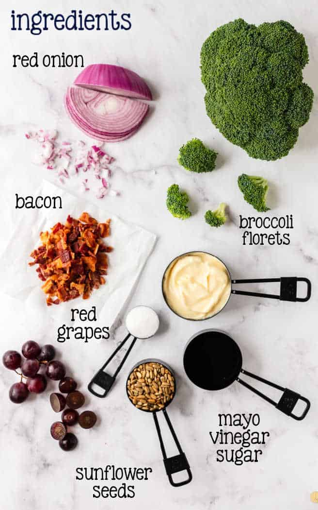 labeled ingredients for salad