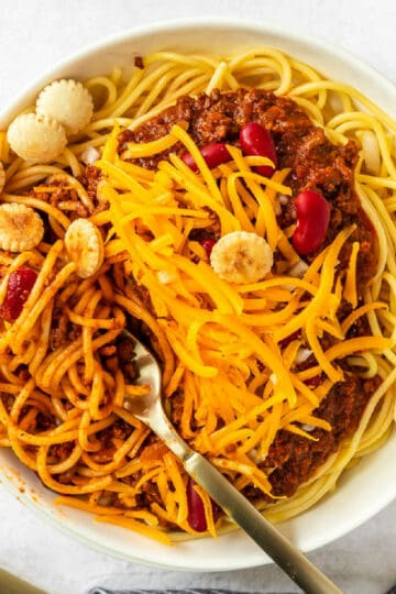 bowl of chili and spaghetti