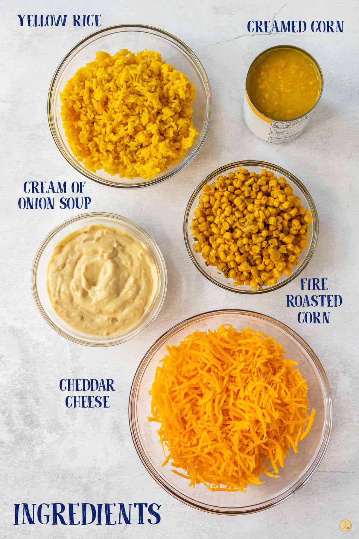 labeled picture of corn casserole ingredients