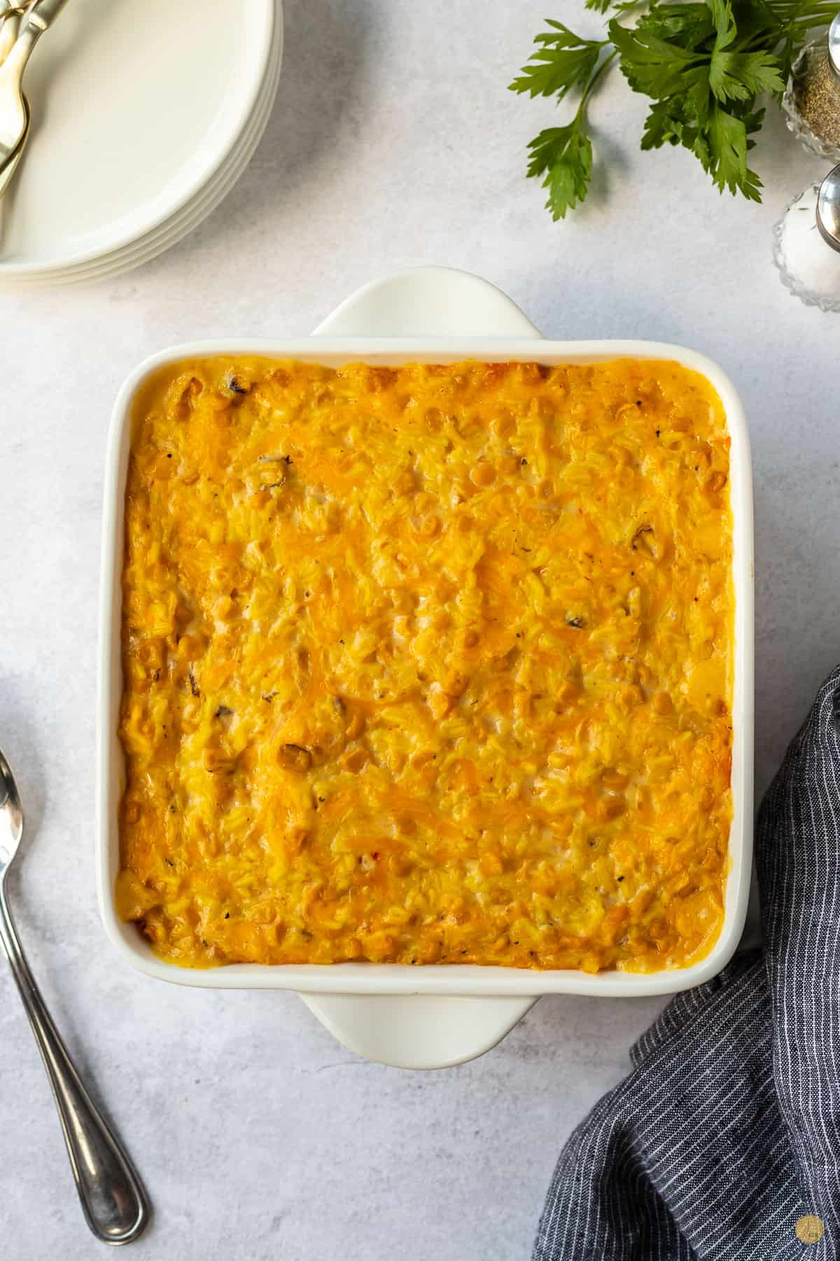 baked casserole in a baking dish