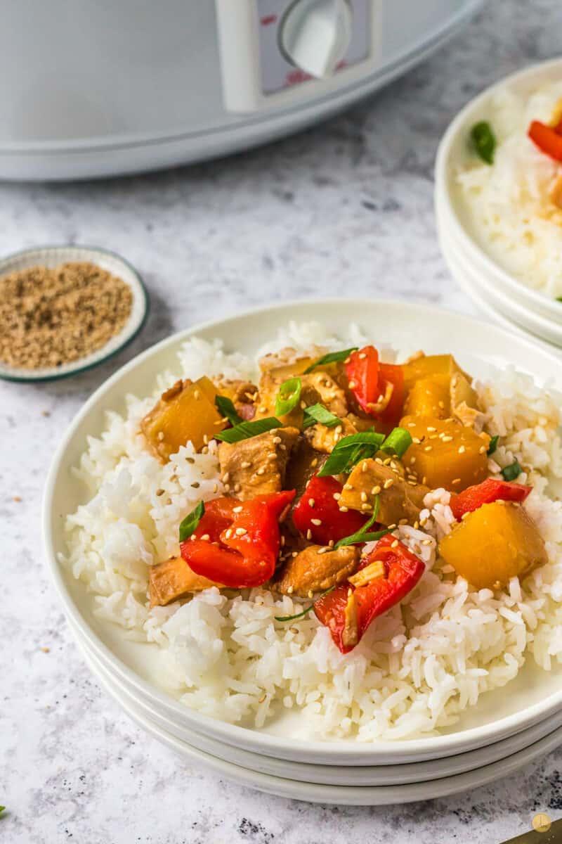 pineapple chicken on white rice