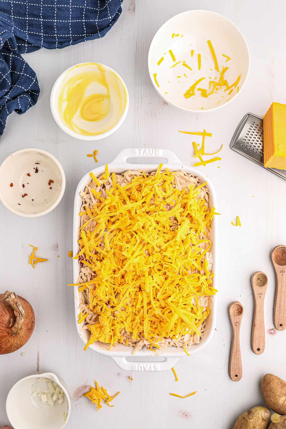 cheese in a baking dish