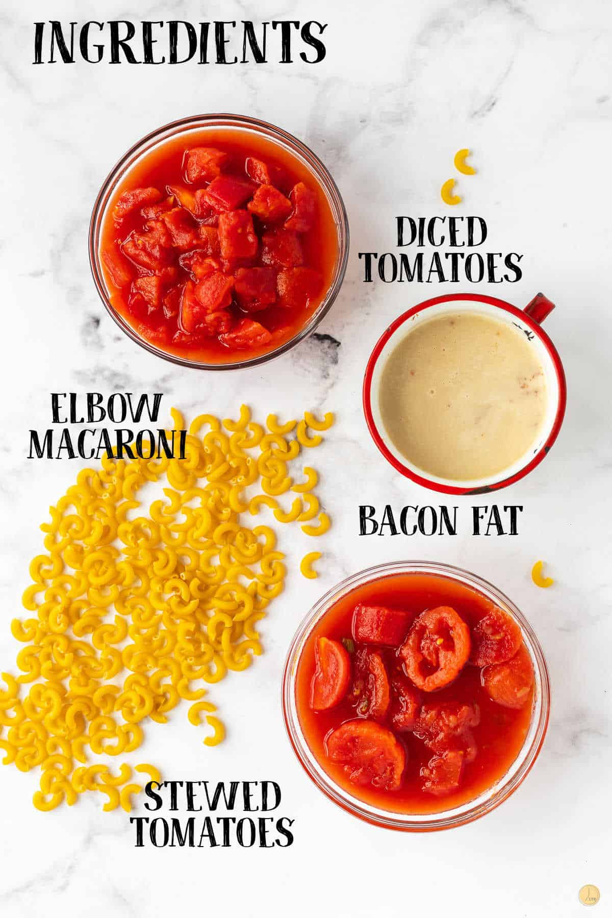 labeled picture of tomatoes and macaroni
