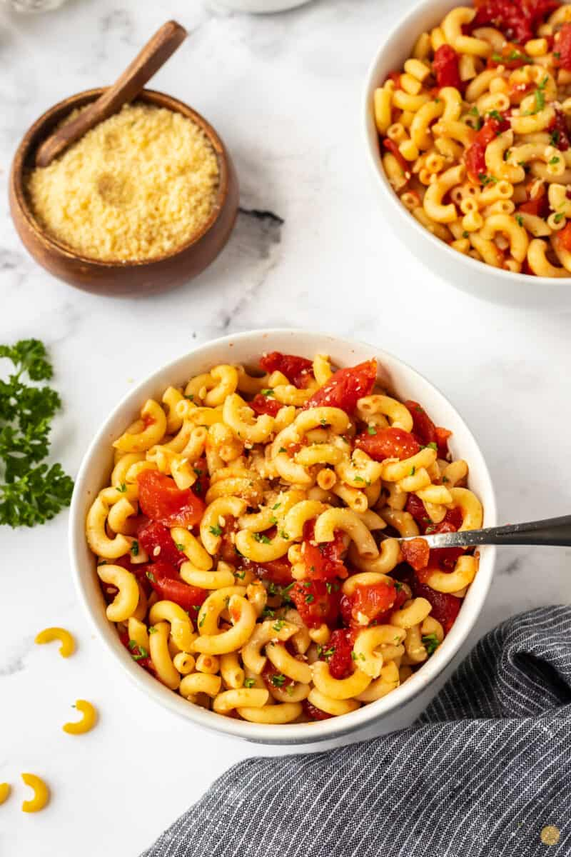 bowl of noodles and tomatoes