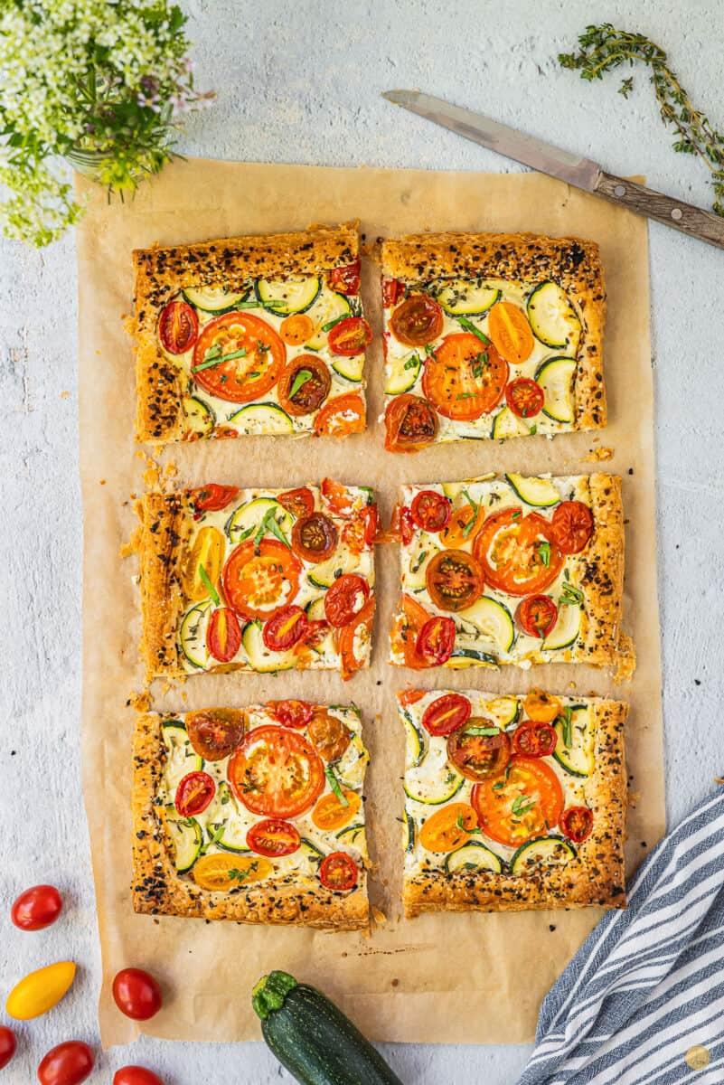 tomato tart cut into pieces