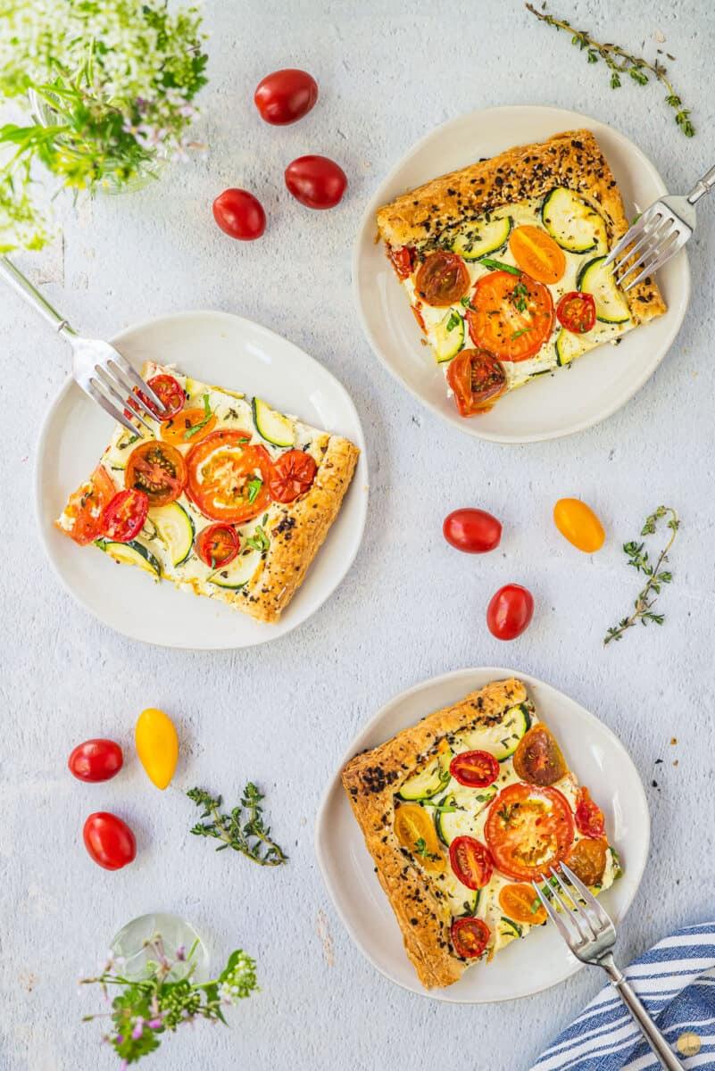 3 plates of tomato tart