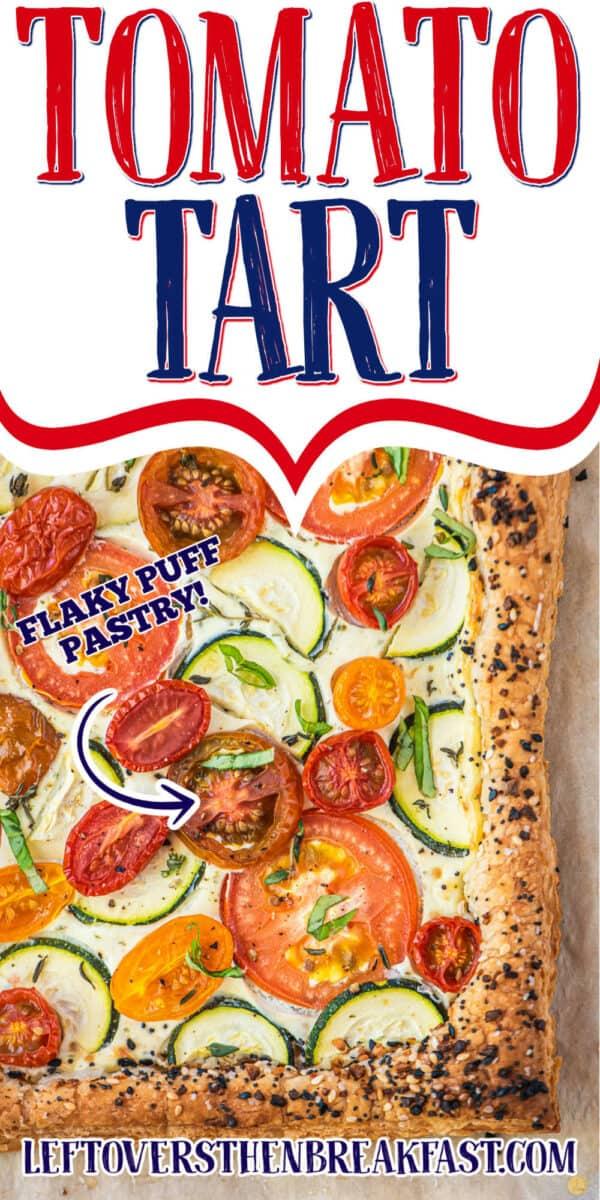 """vegetable tart with text """"tomato tart"""""""