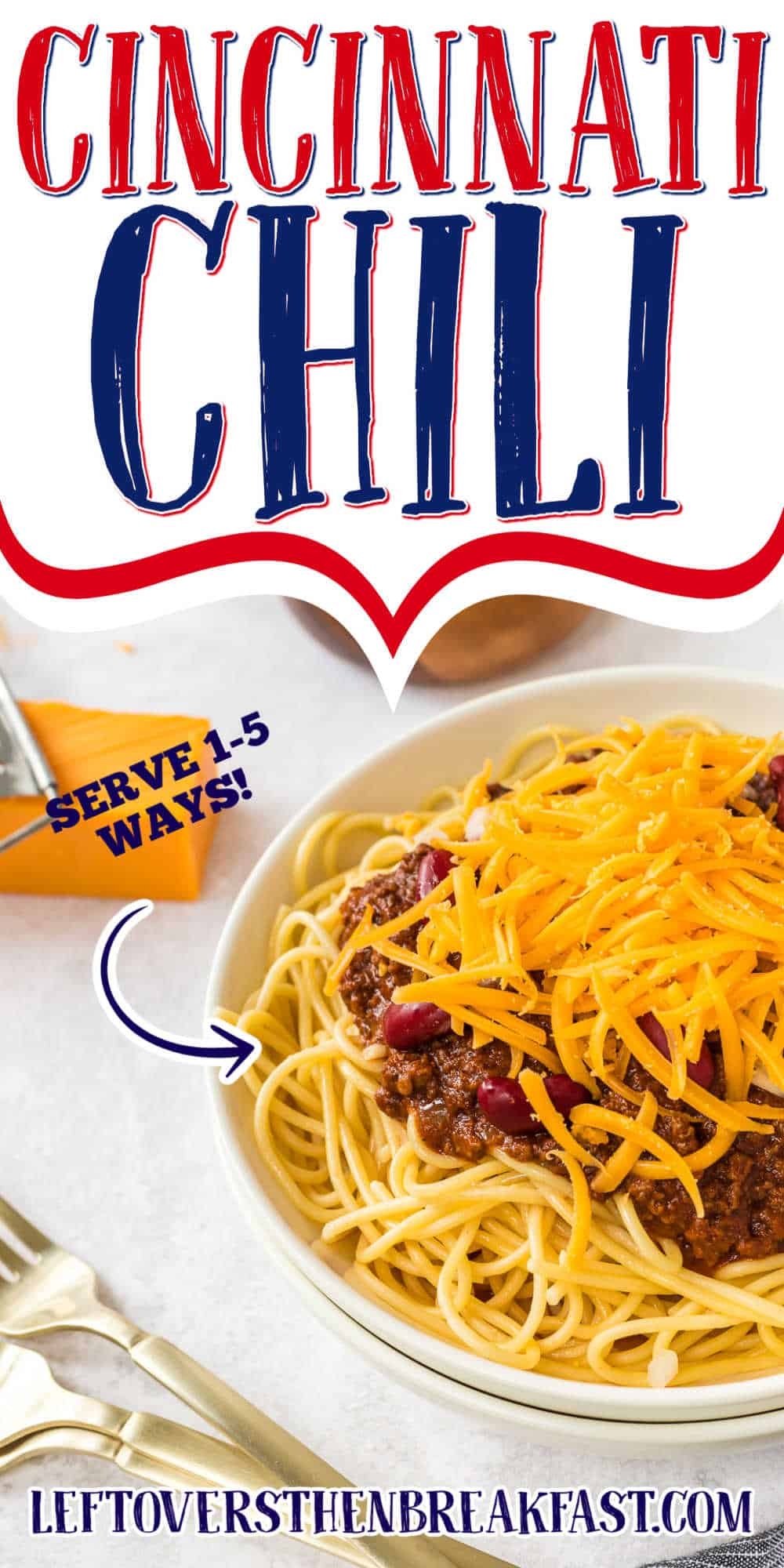 """bowl of spaghetti and cheese with text """"cincinnati chili"""""""