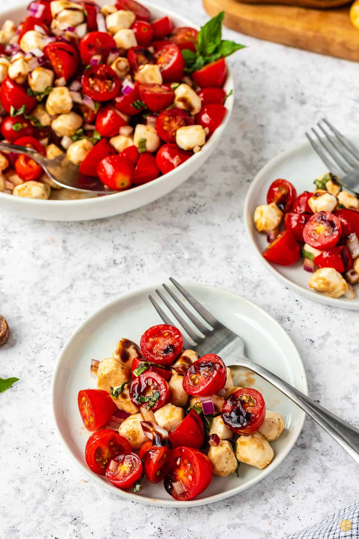 plate of tomato salad with fork