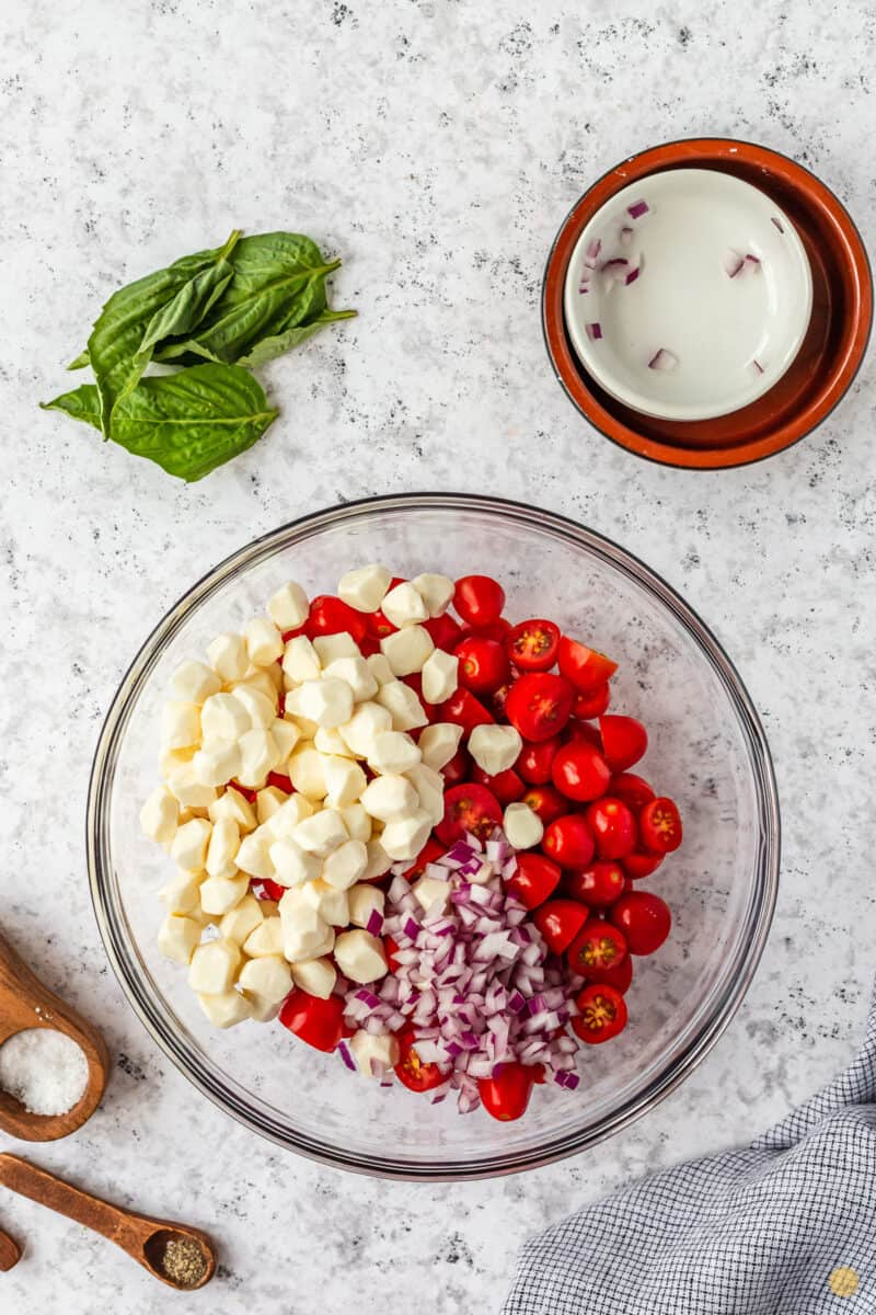 tomatoes and cheese in a bowl