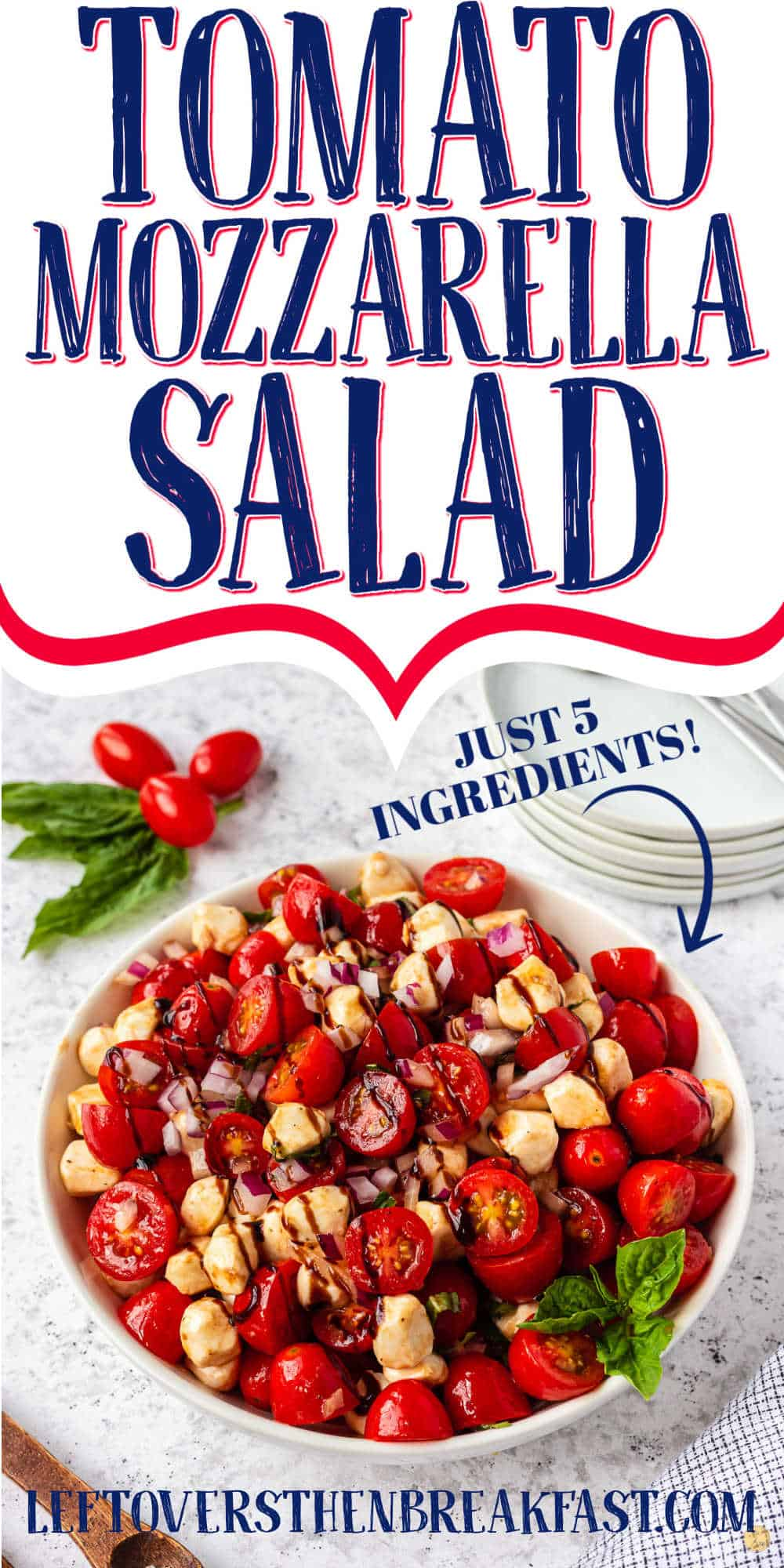 "bowl of salad with text ""tomato mozzarella salad"""