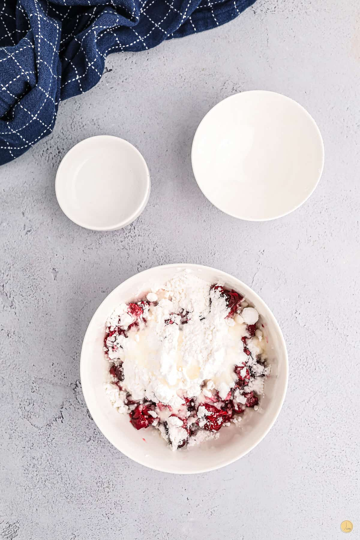 cranberries and sugar in a bowl