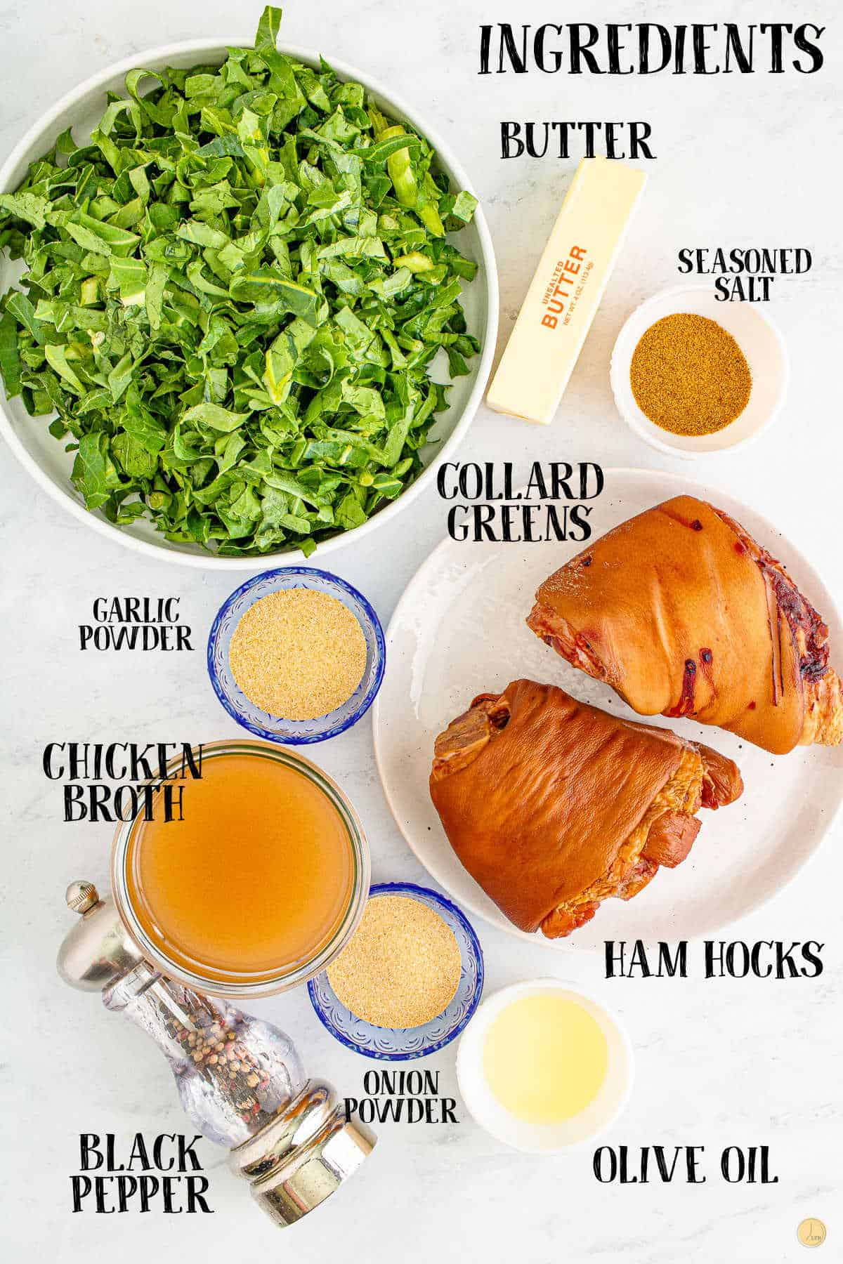 labeled picture of collard greens ingredients