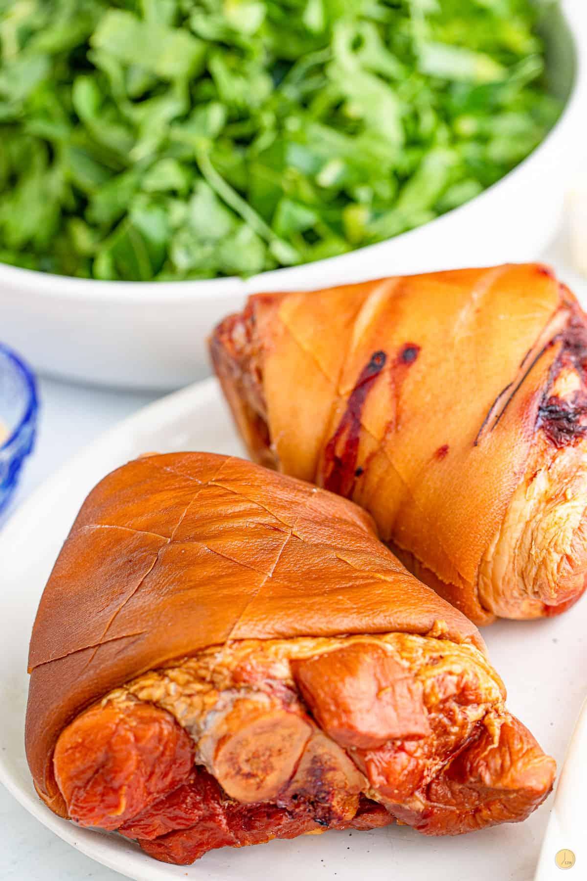 ham hocks on a plate