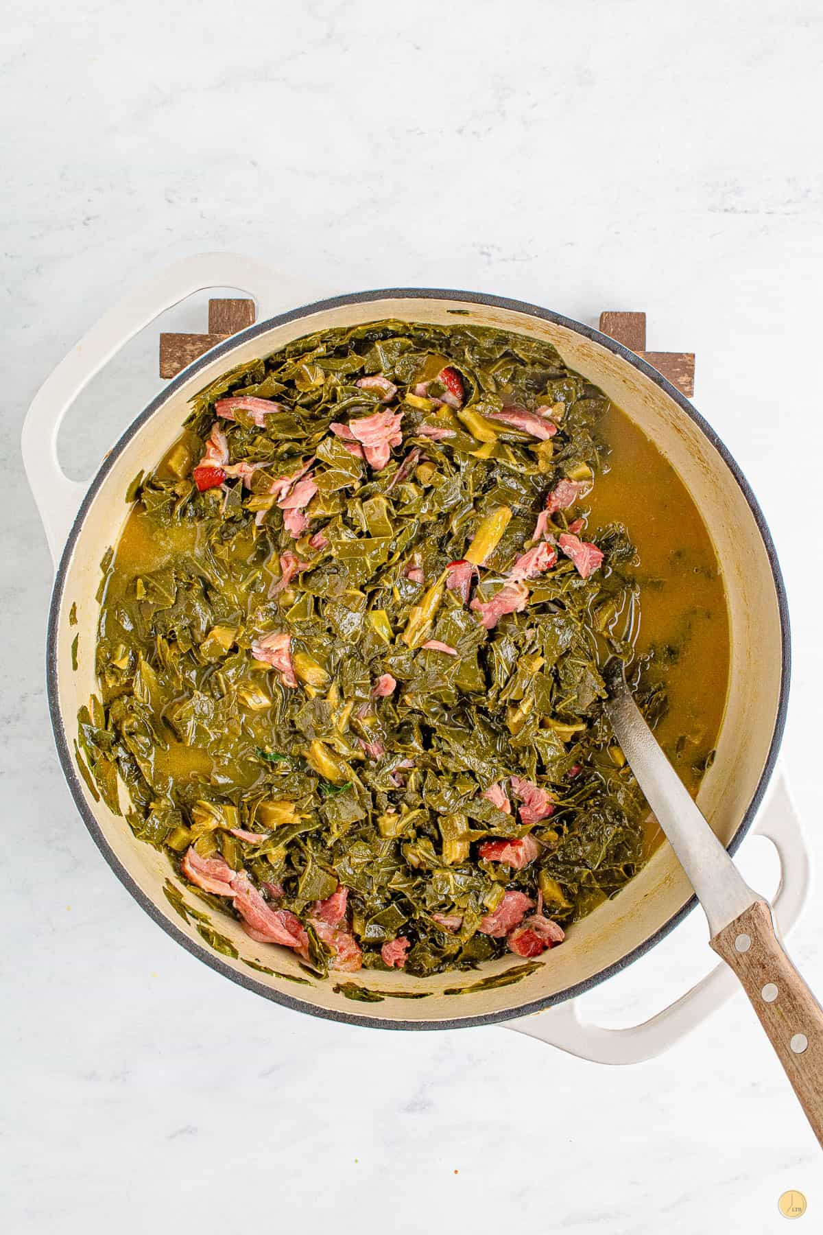 collard greens in a pot