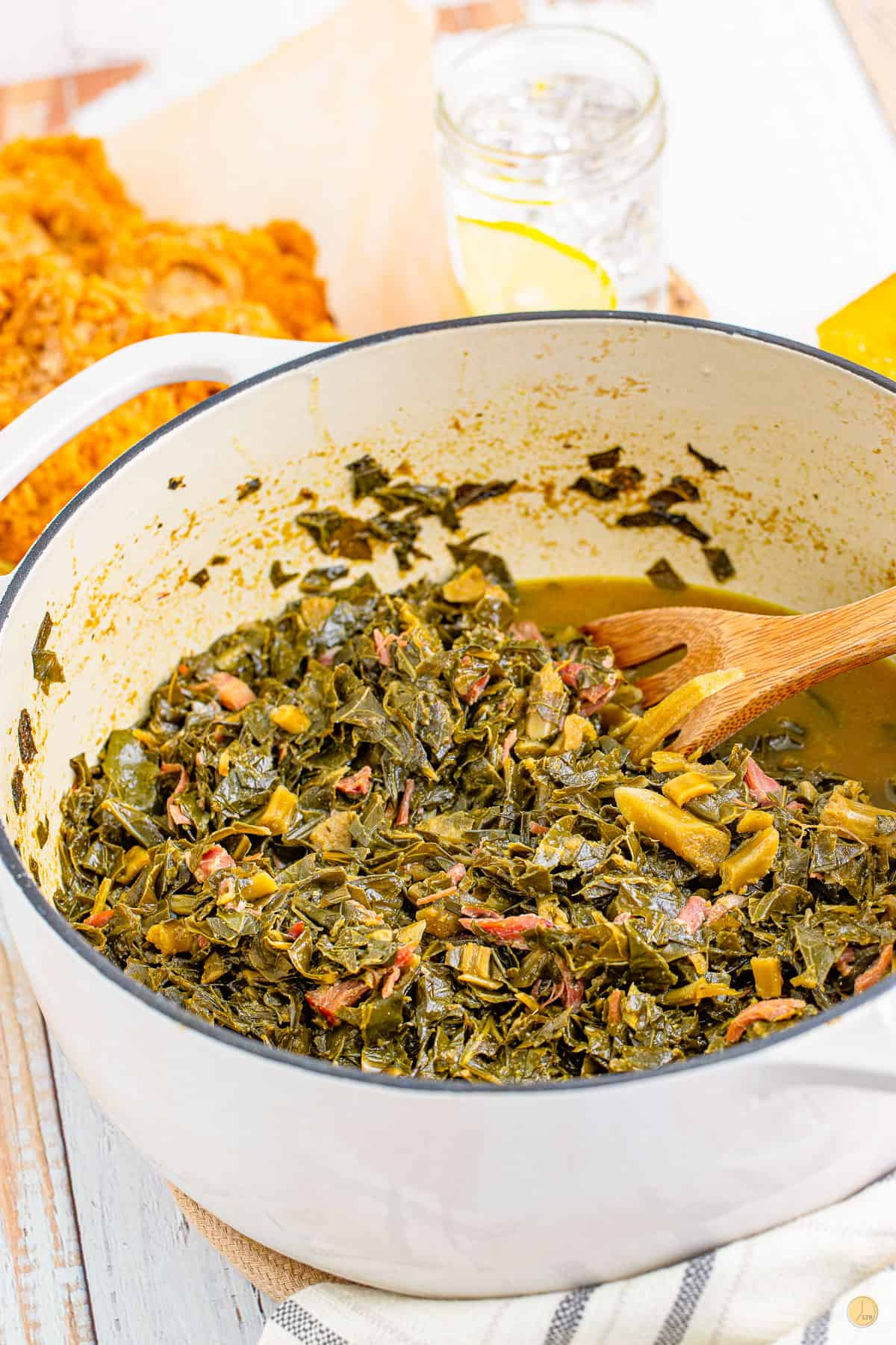 pot of collard with a spoon