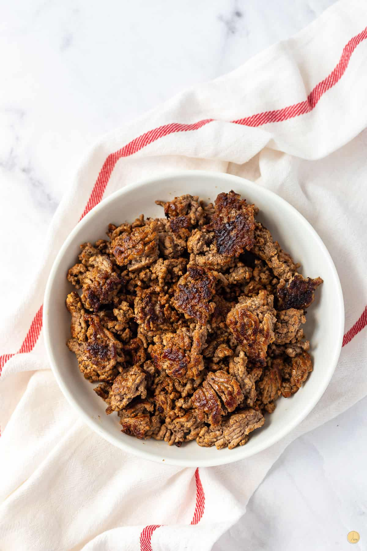 bowl of cooked ground beef