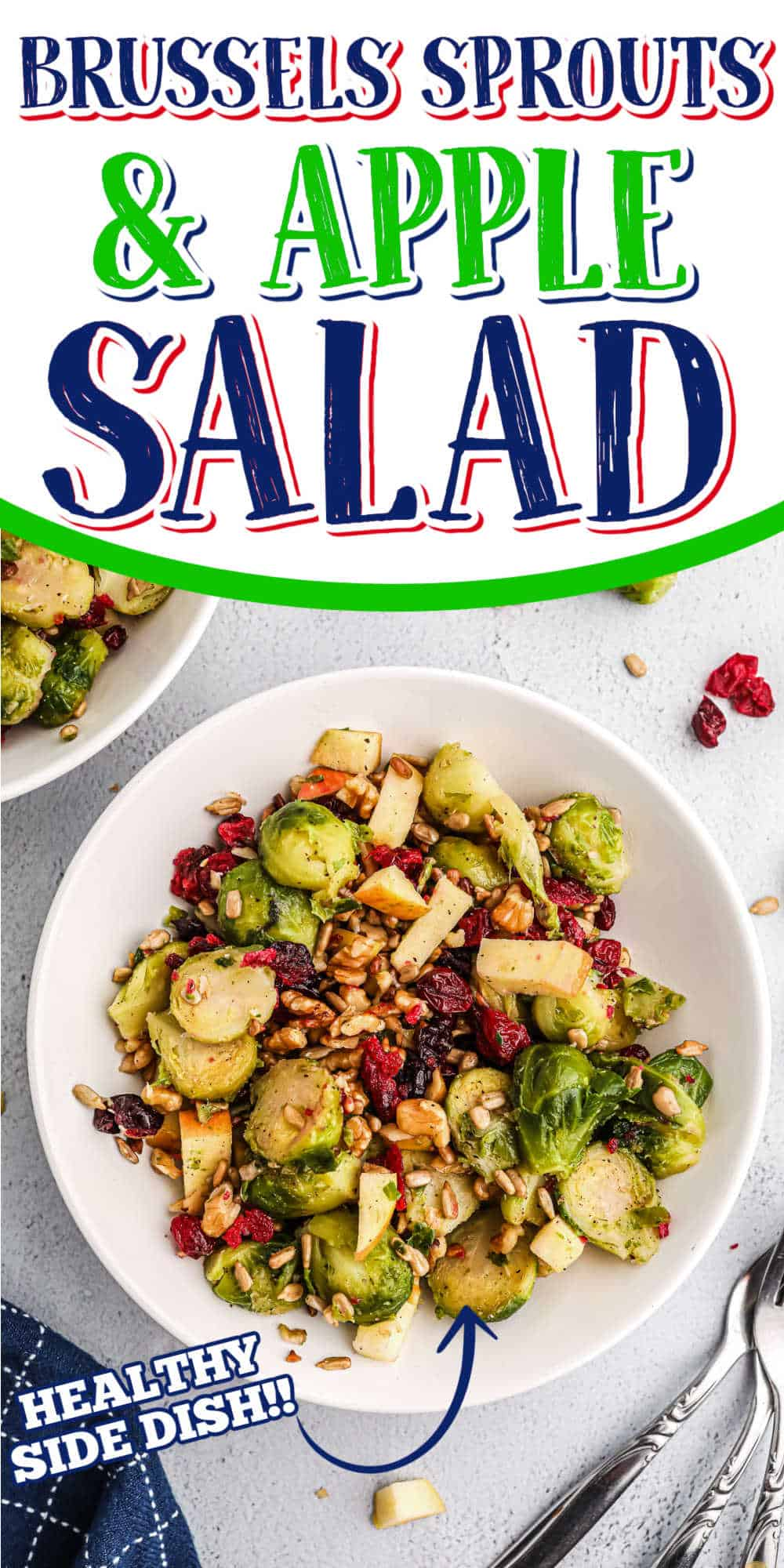 """salad with text """"brussels sprouts & apple salad"""""""