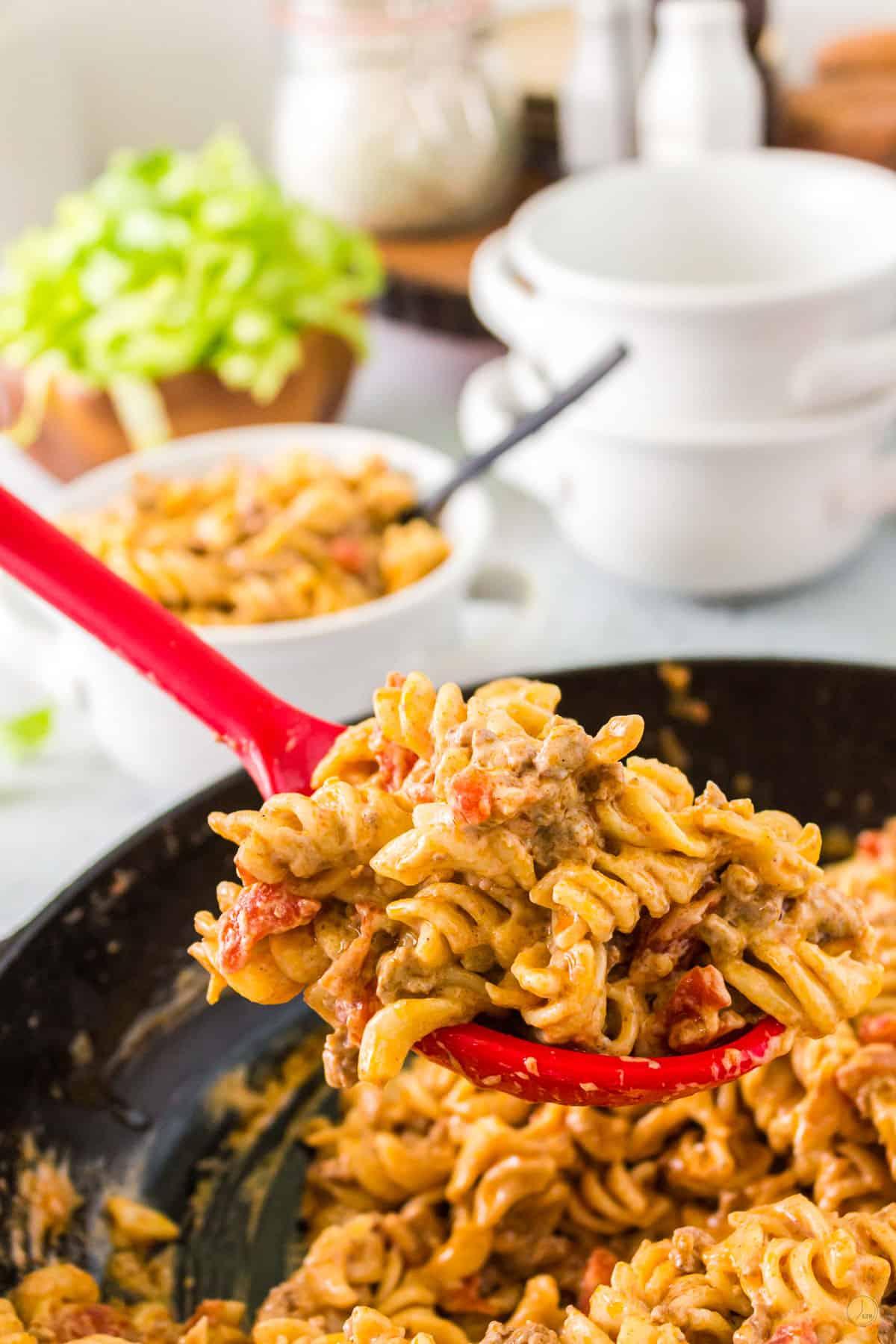 scoop of pasta