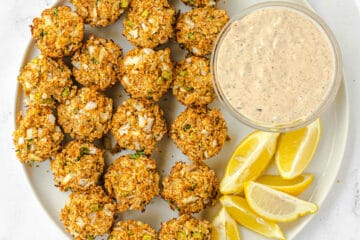 platter of crab cakes