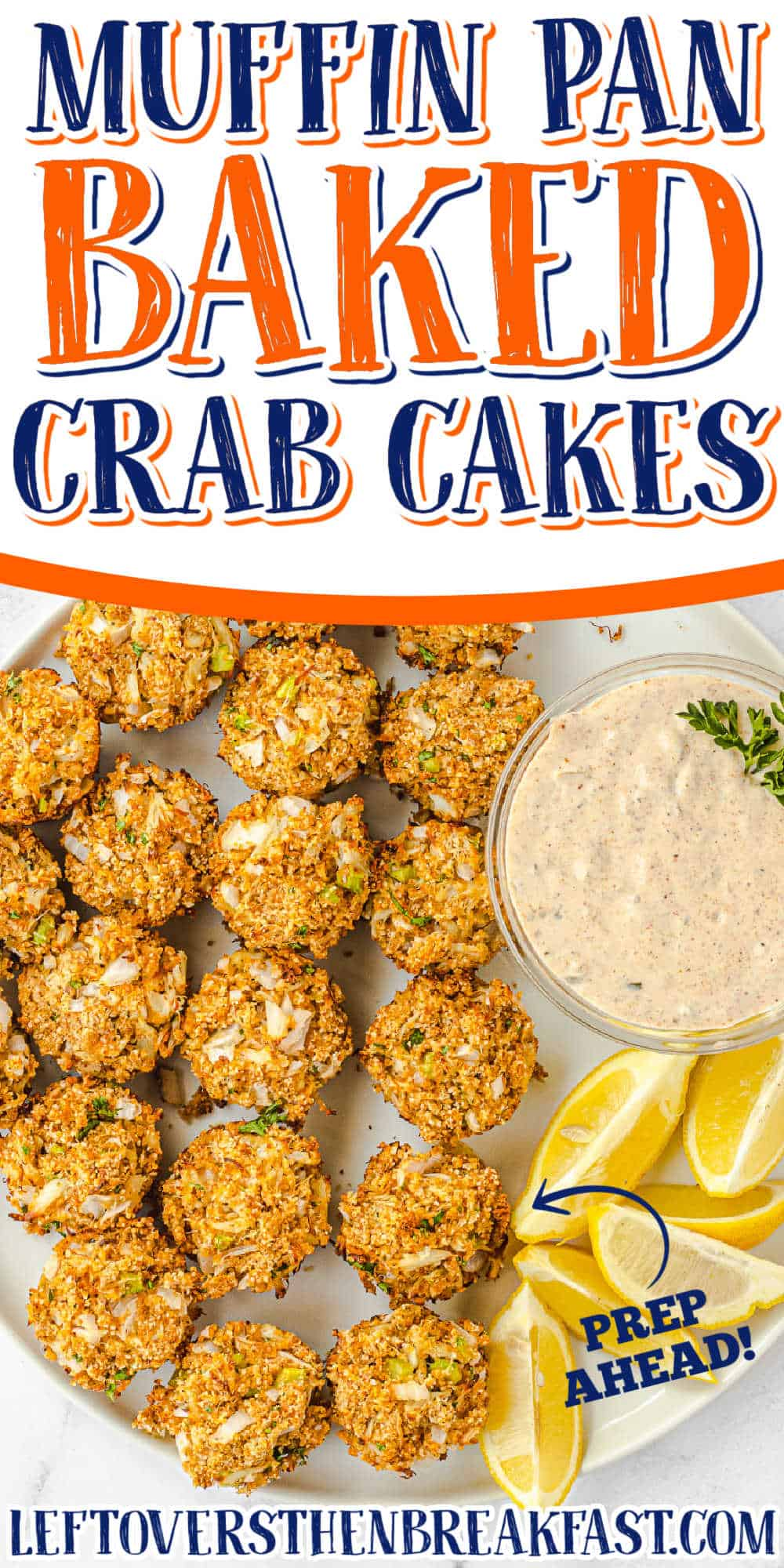 """crab patties with text """"muffin pan baked crab cakes"""""""