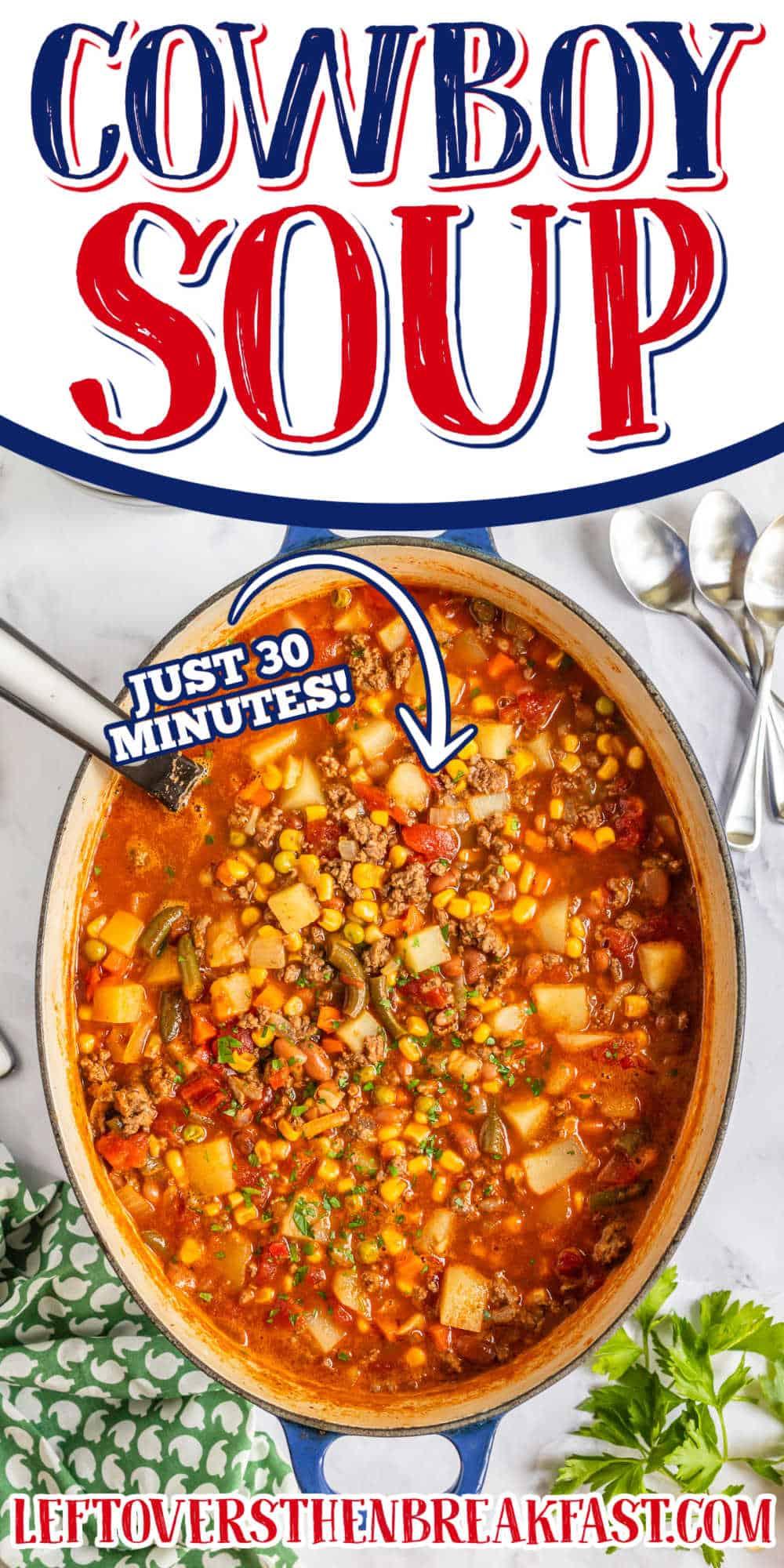 """pot of soup with text """"cowboy soup"""""""