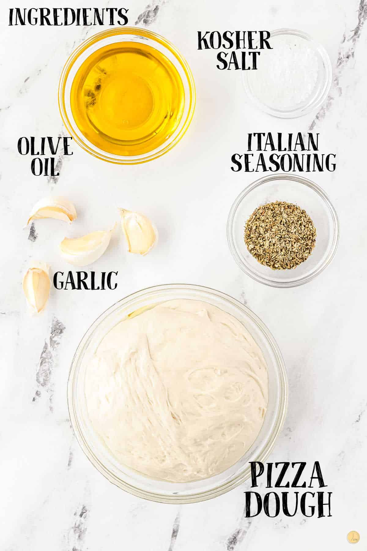 labeled picture of garlic knots ingredients
