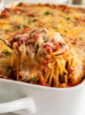 SOUTHERN BAKED SPAGHETTI {Easy Freezer Meal!}
