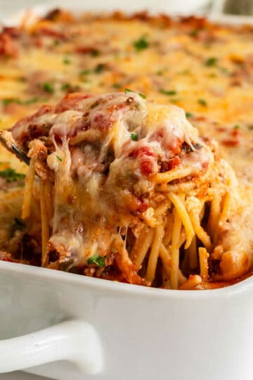 scoop of pasta casserole