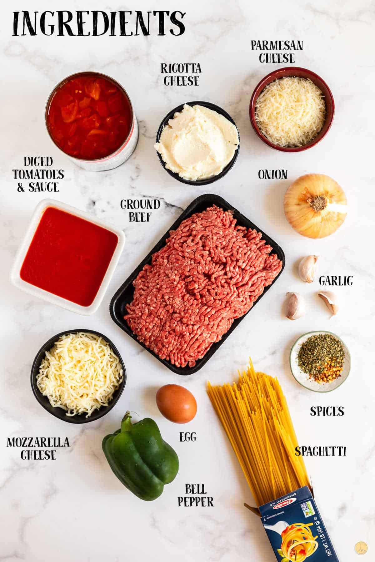 labeled picture of baked spaghetti ingredients