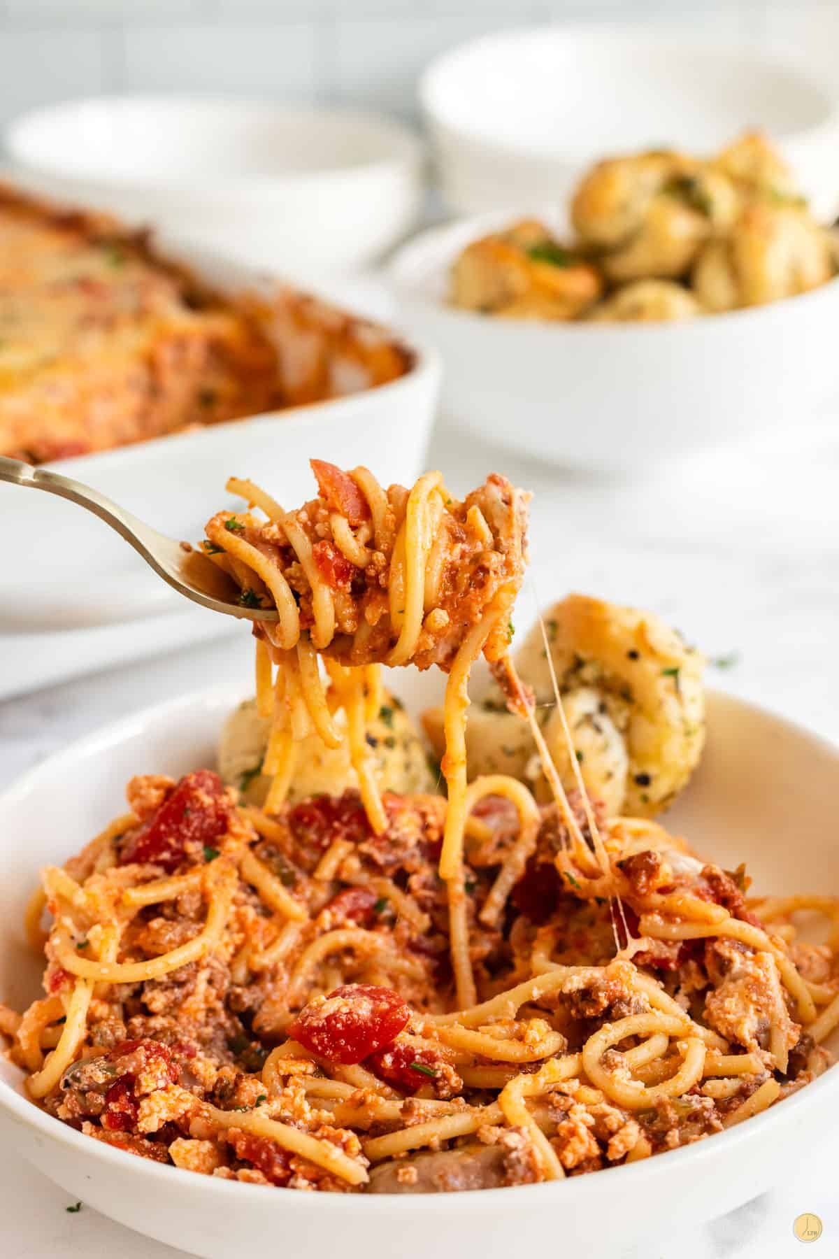 fork with southern baked spaghetti