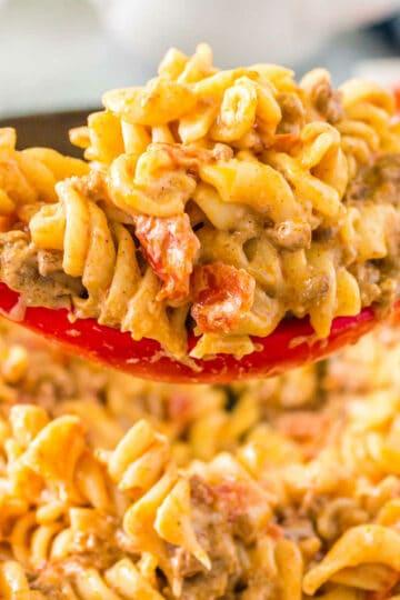 spoon of taco pasta