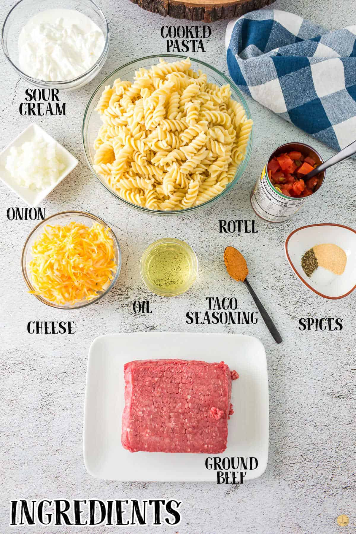 labeled picture of taco pasta ingredients