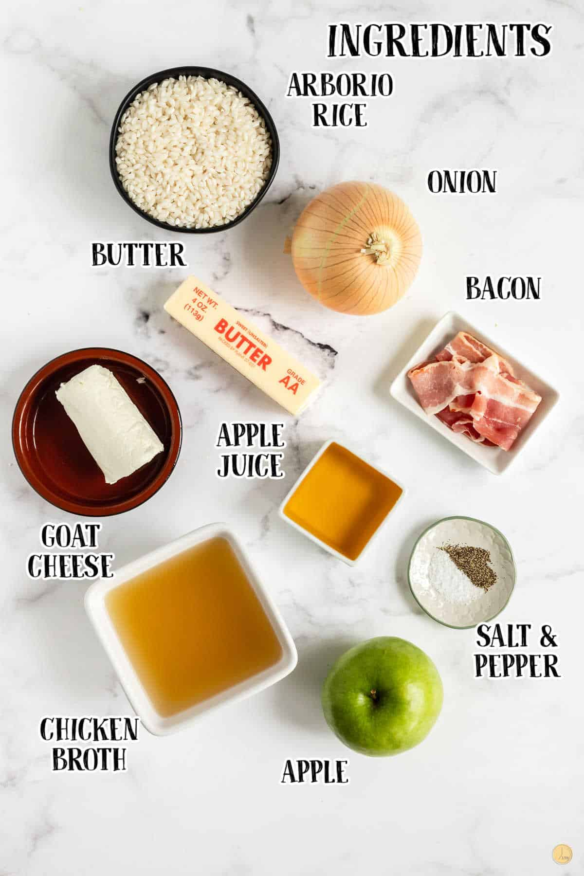 labeled picture of risotto ingredients