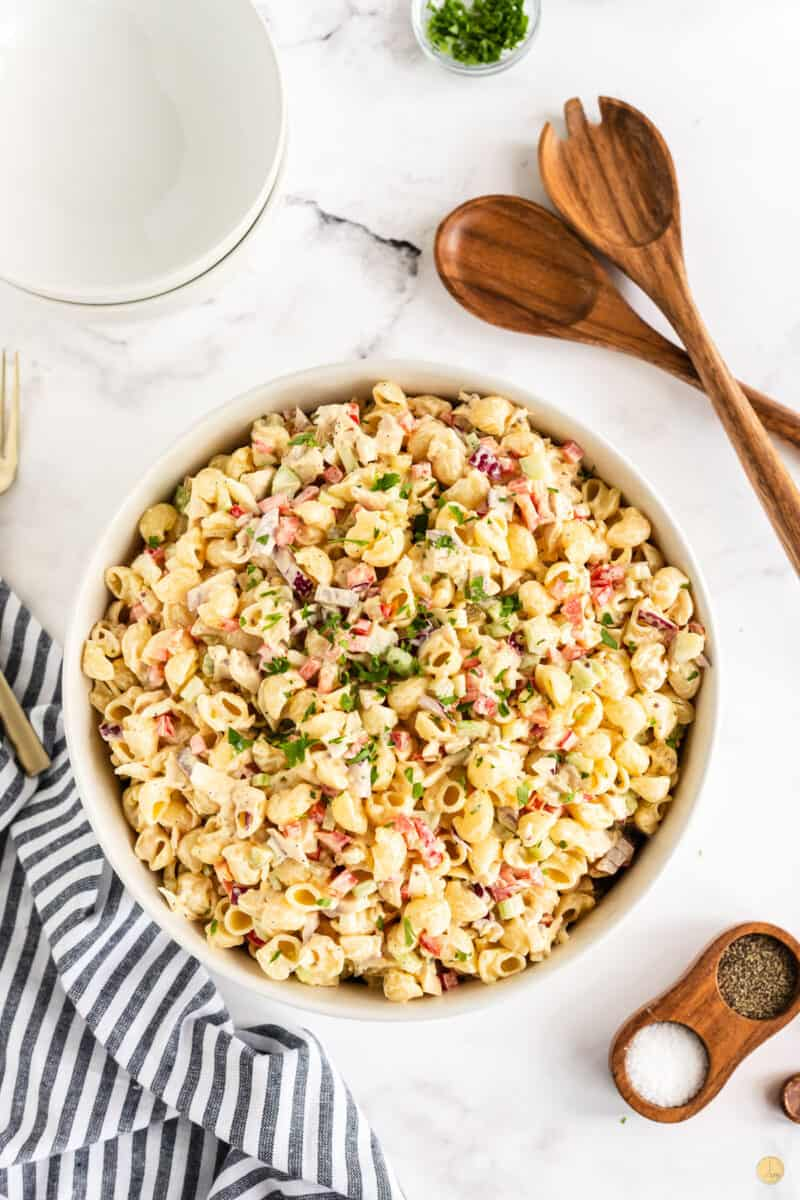 chicken macaroni salad in a bowl