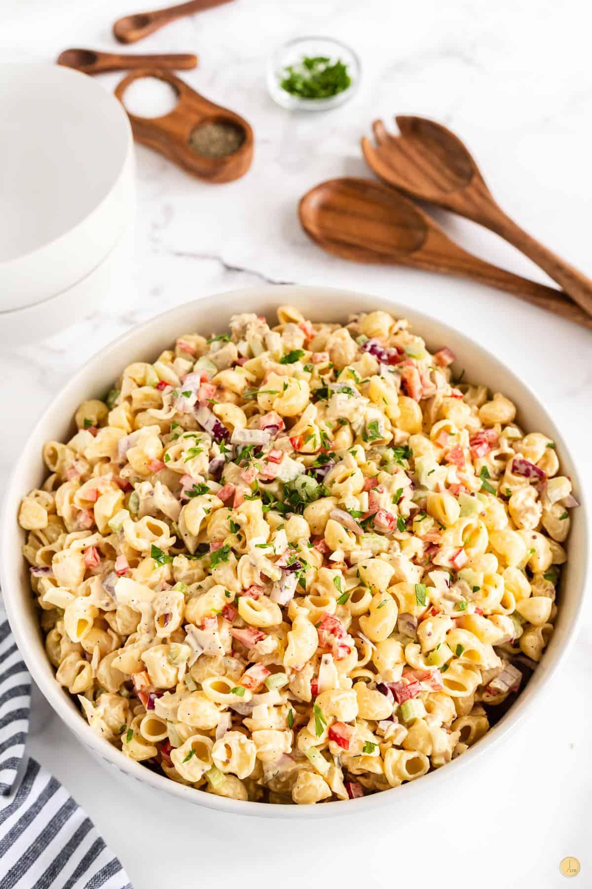 bowl of chicken macaroni salad