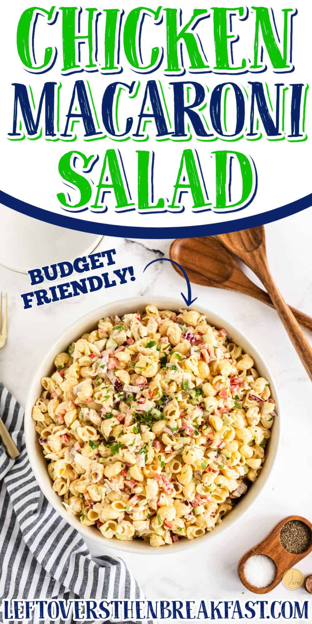 """bowl of pasta with text """"chicken macaroni salad"""""""