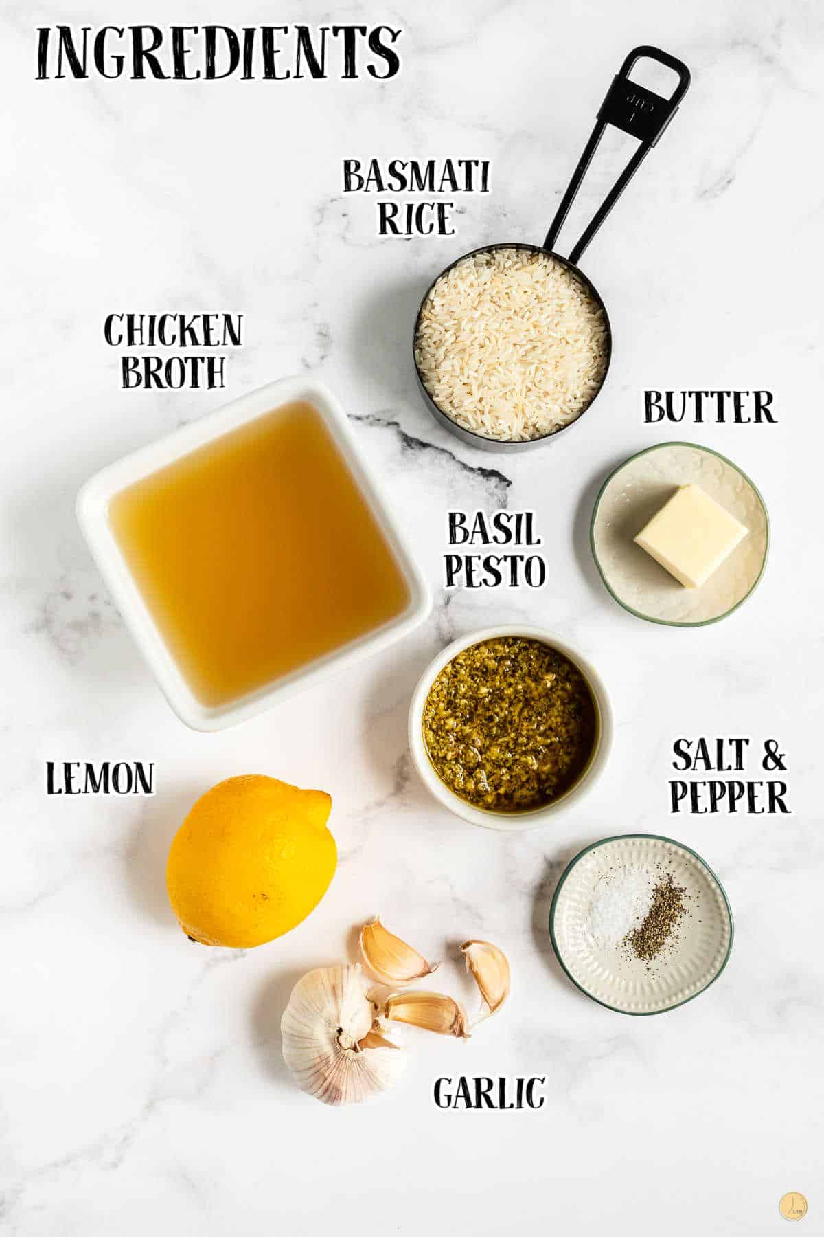 labeled picture of pesto rice ingredients