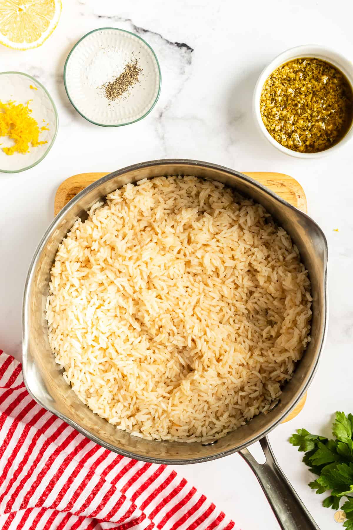 rice in a pan