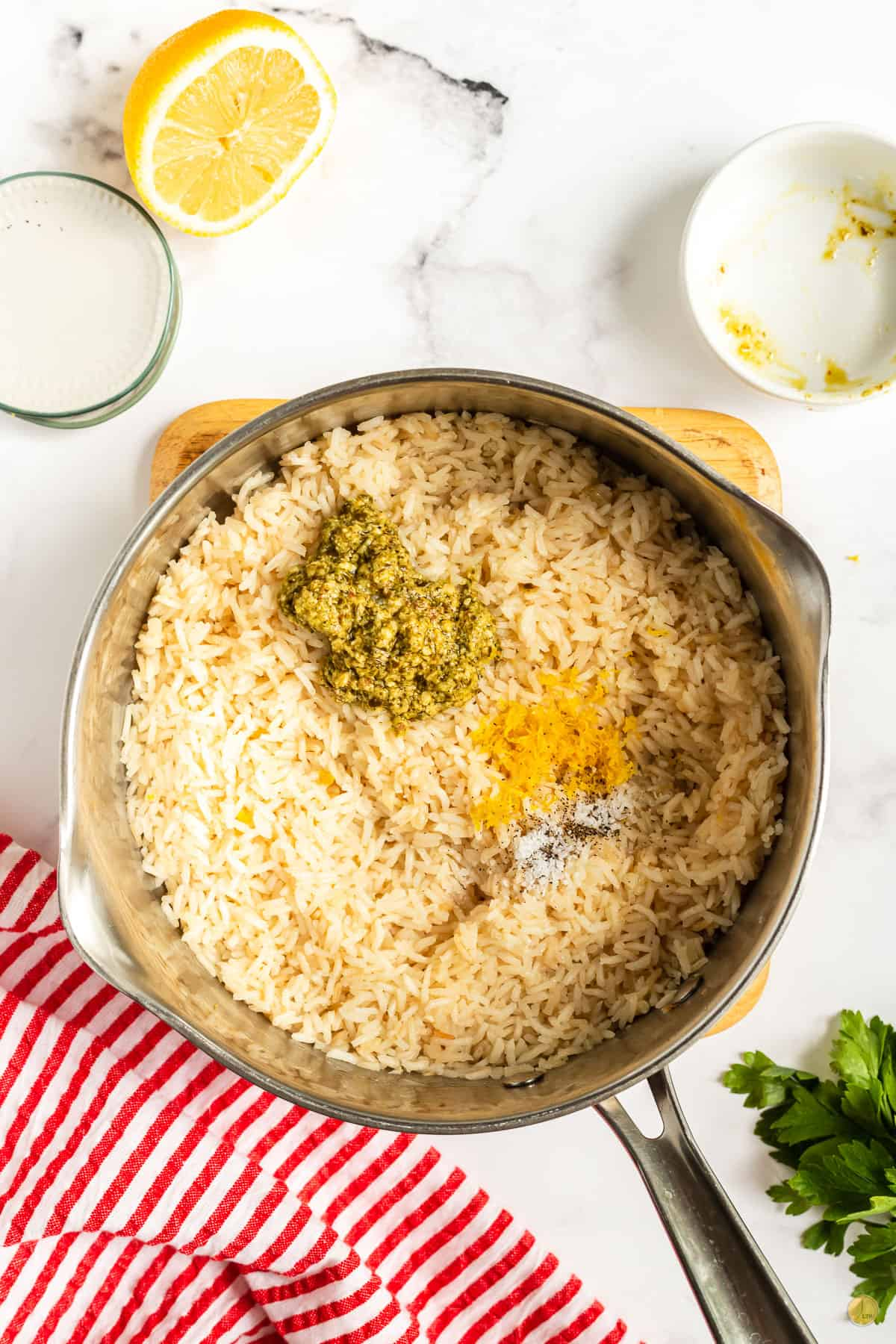 rice, pesto & lemon zest