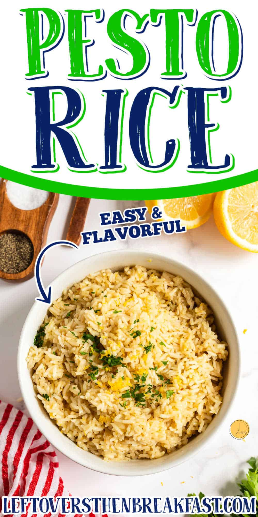 """bowl of rice with text """"pesto rice"""""""