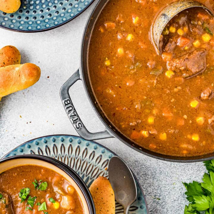 pot and bowl of beef stew