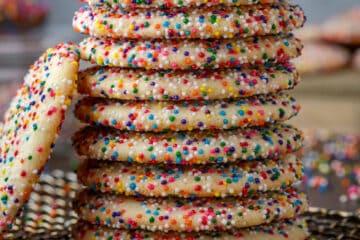 stack of sprinkle cookies