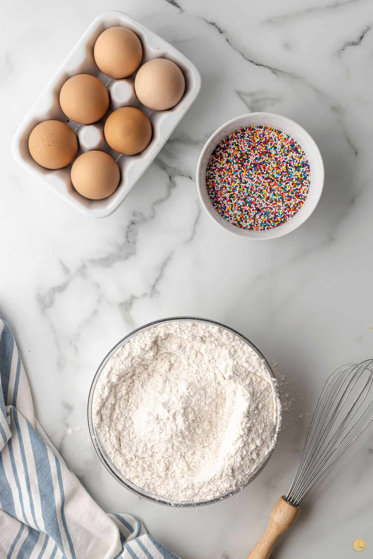 dry cookie ingredients in a bowl