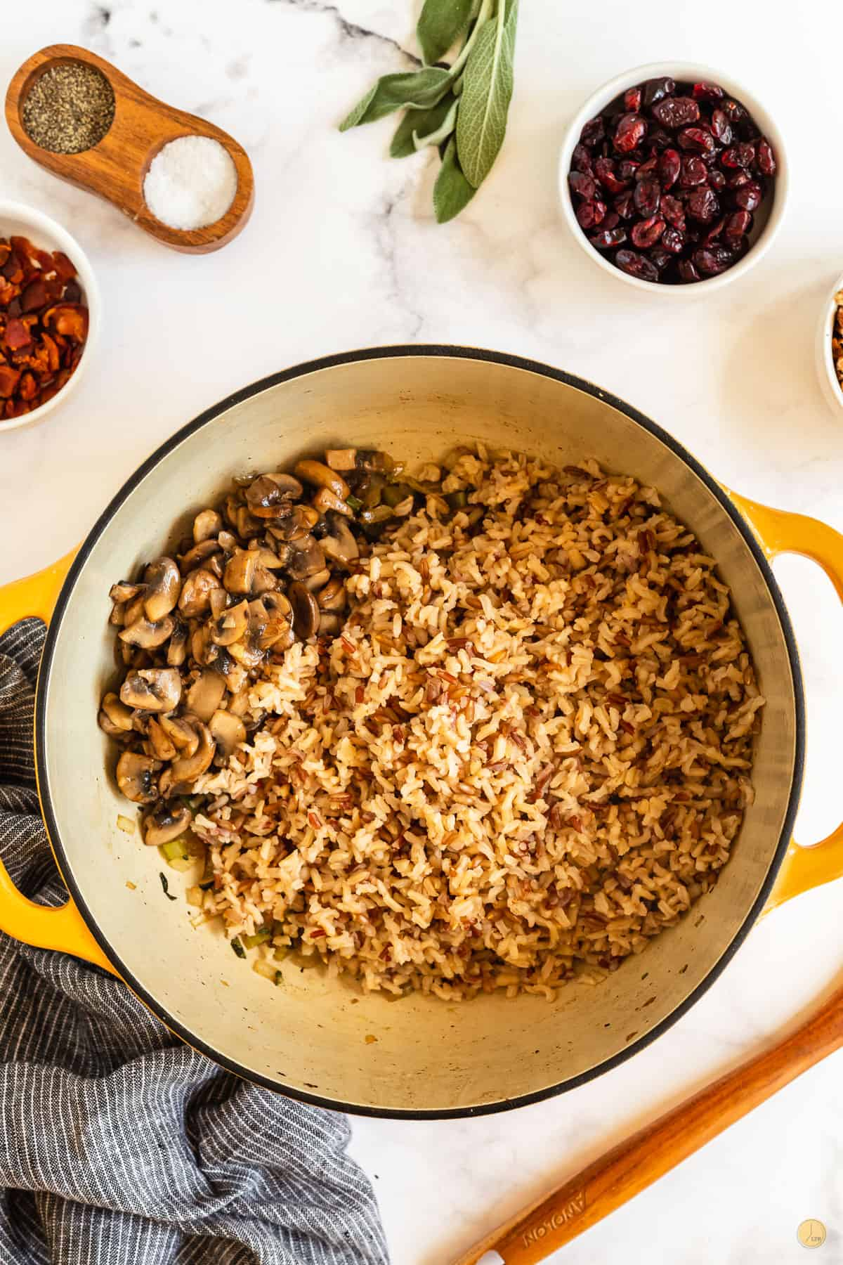 rice and mushrooms in a pot