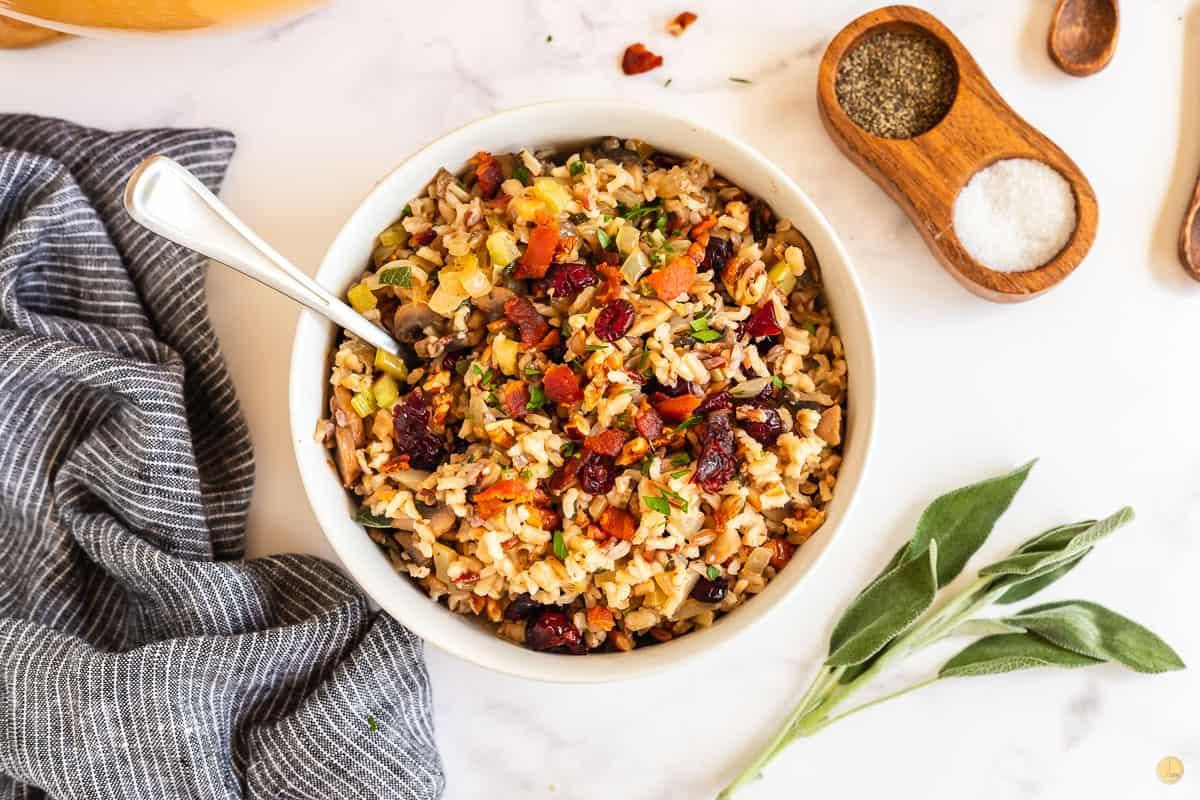 bowl of wild rice stuffing