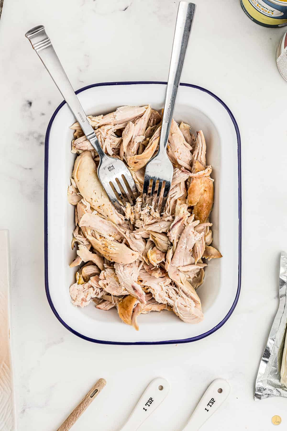 shredded chicken in a dish