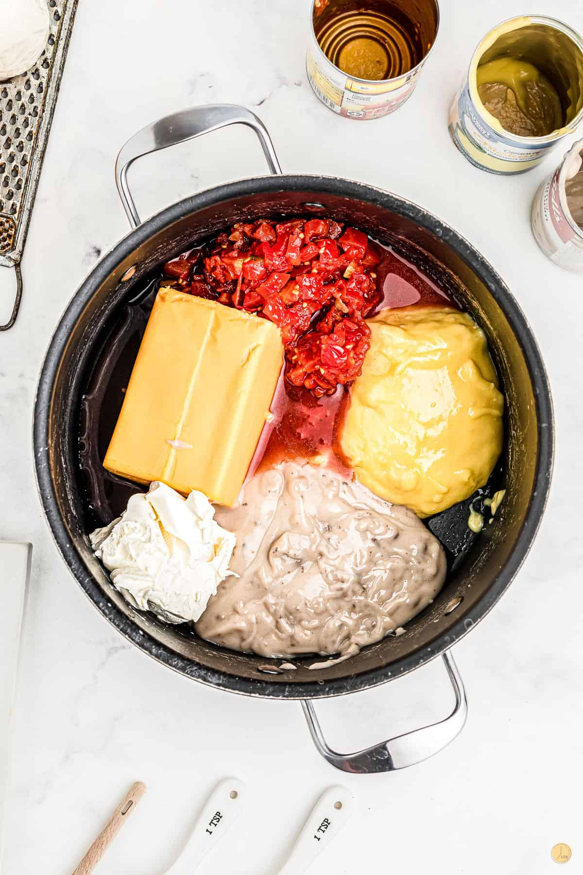 velveeta and soup in a pot